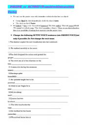 English Worksheet: INTRANSITIVE &TRANSITIVE VERBS- ACTIVE or PASSIVE?