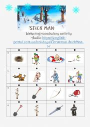 Stick Man. Listening vocabulary activity.