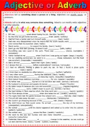 English Worksheet: ADJECTIVE or ADVERB - Exercise + KEY