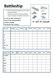 English Worksheet: Battleship preposition of place