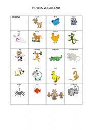 English Worksheet: MOVERS EXAM VOCABULARY_ANIMALS