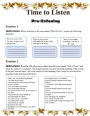 English Worksheet: song activity( hall of fame)