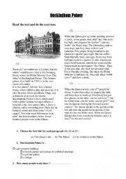 English Worksheet: Buckingham Palace and the daily routine of the Queen