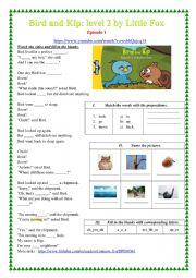 English Worksheet: Bird and Kip Episode 1 cartoon worksheet