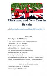 Christmas and New Year in Britain. listening activity.