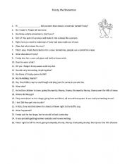 English Worksheet: Frosty the Snowman Dialogue