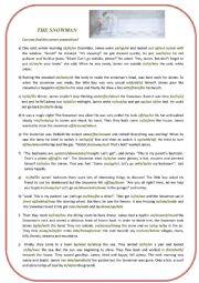English Worksheet: The Snowman by Raymond Briggs prepositions