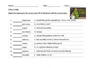 English Worksheet: Vocabulary Test - A Day In India (Big Cat Collins Reading Book)
