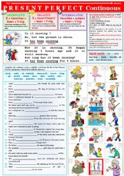 English Worksheet: PRESENT PERFECT CONTINUOUS - rules + exercises + KEY