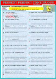 English Worksheet: PRESENT PERFECT CONTINUOUS - Extra exercises