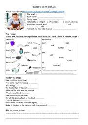 English Worksheet: Jamie Oliver�s pancake recipe