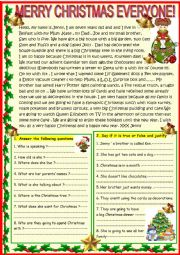 English Worksheet: Merry Christmas: reading