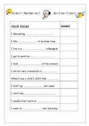 English Worksheet: So do I, Neither do I