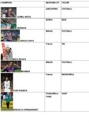 English Worksheet: CHAMPIONS NATIONALITIES & TALENTS
