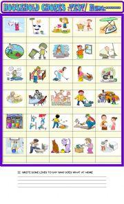 English Worksheet: Household chores : vocabulary test