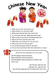 English Worksheet: Chinese New Year Talk