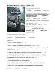 English worksheet: JURASSIC WORLD MOVIE QUESTIONS