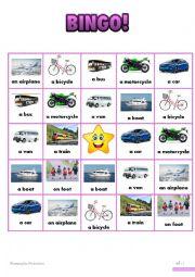 English worksheet: Vehicles Bingo