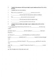 English worksheet: Review Simple Past vs Past Continuous