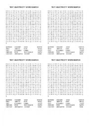 English Worksheet: TEST ELECTRICITY WORDSEARCH