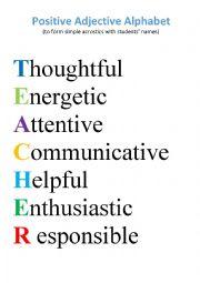 Positive Adjective Alphabet