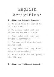 English worksheet: Direct and Indirect Speech activities