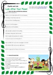 English Worksheet: Charlie and Lola: Look after your planet