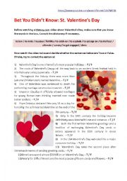 English Worksheet: BET YOU DIDN´T KNOW: ST. VALENTINE´S DAY