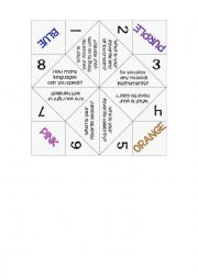 English Worksheet: Cootie catcher