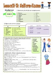 English Worksheet: Lesson 18 school uniform+ Lesson 19:coping with exams