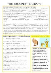 English Worksheet: The Bird and the Giraffe