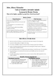 English Worksheet: unit 3 /lesson 6: Brain Drain