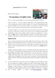 English Worksheet: 10th Grade Test-The importance of the English Language