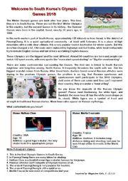 English Worksheet: Olympic games, 2018, South Korea