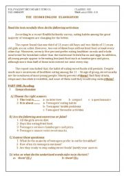 English Worksheet: eating habits exam