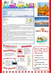English Worksheet: An e-mail from Malta. Reading and semi-guided writing.
