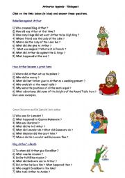 English Worksheet: Arthurian legend - Webquest