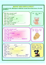 English Worksheet: Have you got a pet?