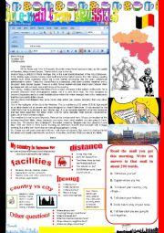 English Worksheet: An e-mail from Brussels. Reading and semi-guided writing.