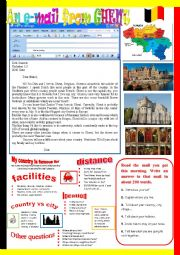 English Worksheet: An e-mail from Ghent. Reading and semi-guided writing.