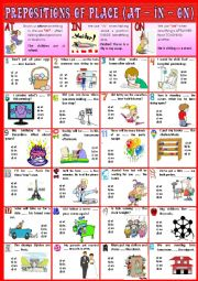 Prepositions of place  IN ON AT + KEY