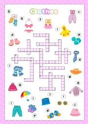 English Worksheet: Clothes crossword (KEY INCLUDED)