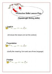 English Worksheet: :Productive and Receptive Skills Lesson Plan