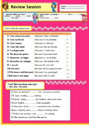 English Worksheet: Review:linkers(because, then, and, but) describing poeple´s wearings