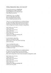 English Worksheet: Whitney Houston Like I never left