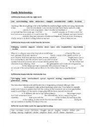 English Worksheet: Family relationships revision exercises