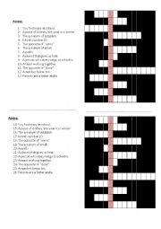 English Worksheet: school uniforms crossword