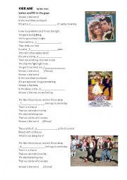 English Worksheet: GREASE song