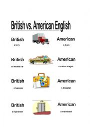 English Worksheet: Differences between British and Ameican English
