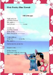 English Worksheet: Elvis Presley Song Blue Hawaii